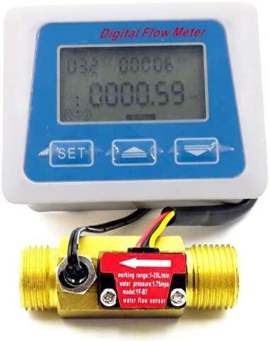 Nrpfell Digital LCD Display Water Flow Sensor Meter