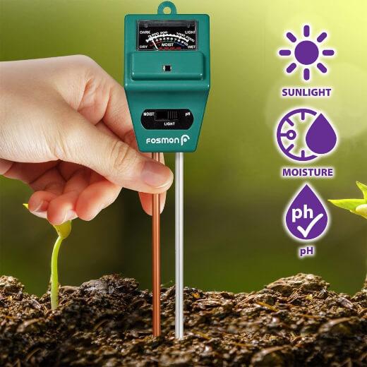 Fosmon 3-in-1 Soil, Light, PH and Moisture Tester