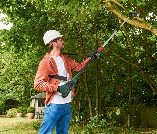 Electric pole pruner is like a small, lightweight chainsaw with a long reach