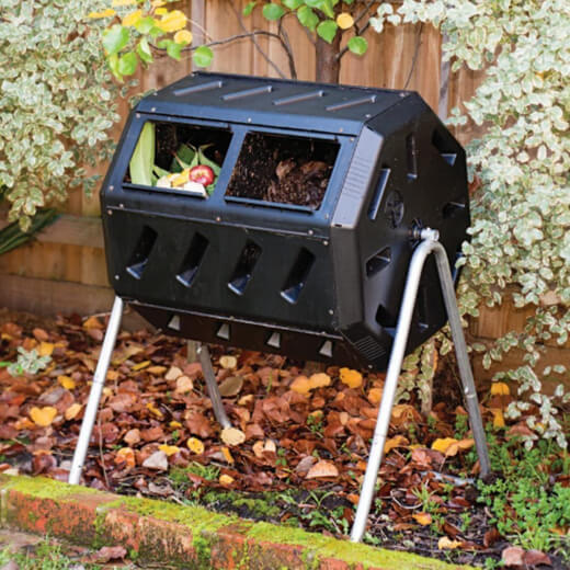 A compost tumbler is a type of outdoor compost bin