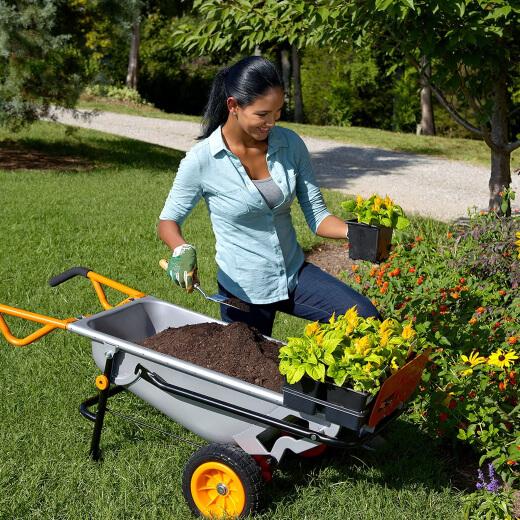 A woman using a wheelbarrow