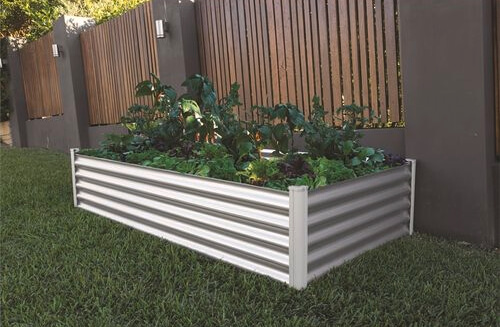 The Organic Garden Co Raised Rectangle Garden Bed has rolled safety edges to avoid injury and comes with a 5-year warranty
